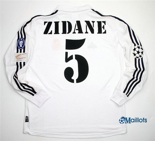 Maillot Rétro football Real Madrid Manche Longue 5 Zidane 2002-03