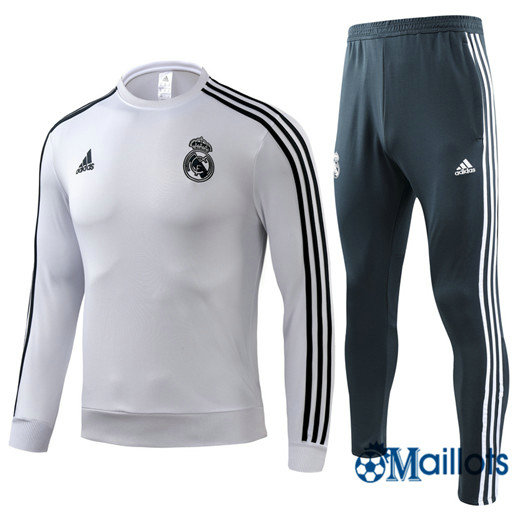 Survêtement Real Madrid football Blanc Col Rond 2018 2019