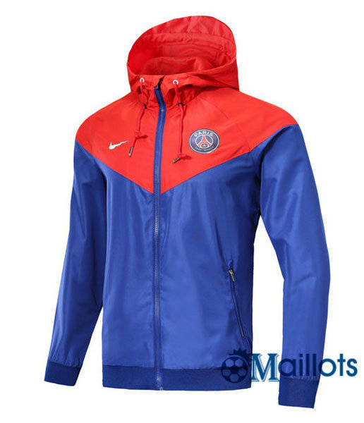 Veste training football Windrunner Authentic PSG Bleu/Rouge a capuche 2018 2019