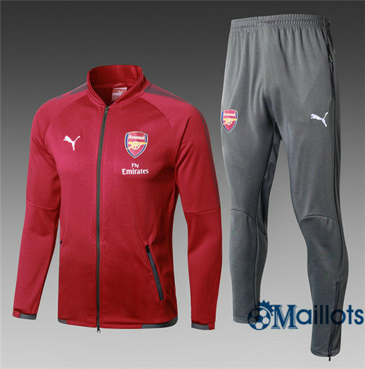 Veste Survêtement Foot - Ensemble Arsenal Rouge 2017/2018