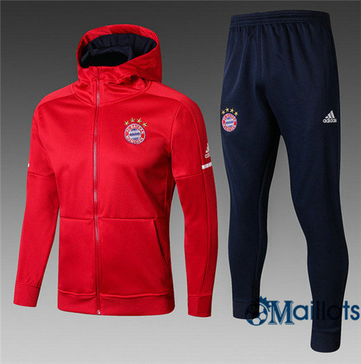 Veste Survêtement Foot - Ensemble Bayern Munich Rouge a Capuche 2017/2018