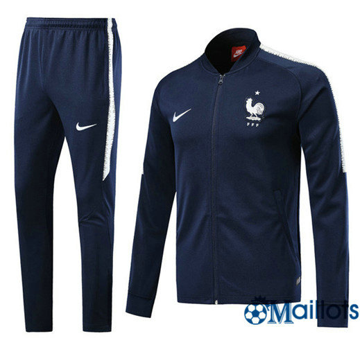Veste Survêtement Foot - Ensemble France Bleu Marine 2018/2019