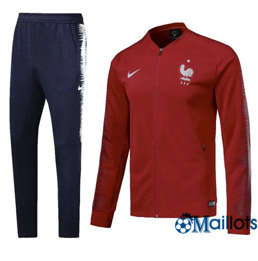 Veste Survêtement Foot - Ensemble France Rouge 2018/2019