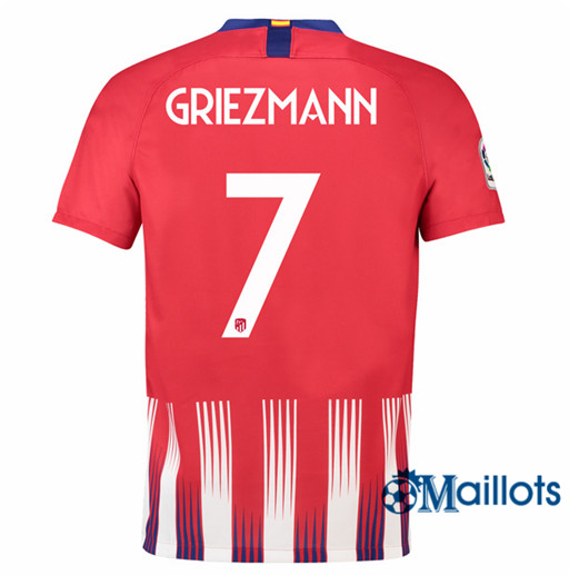 Maillot de Football Atletico Madrid 7 Griezmann Domicile 2018 2019